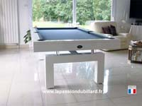 billard table: Billard contemporain Arcade laqué blanc tapis gris ardoise