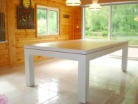 Billard contemporain Eos en chene ceruse blanc transformable en table region Lilloise
