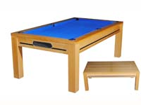 billard table de salle a manger: Billard moderne Manchester chataignier tapis bleu transformable en table