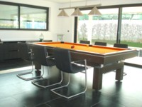 Billard table design arcade 2m60 tapis orange lisere aluminium Valenciennes