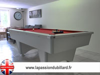 Billard Domestic blackball blanc tapis rouge.