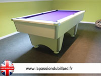 Billard Domestic pool blanc tapis violet.