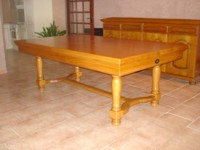 billard table: billard lafuge castel 2m10 en chêne doré avec plateau table transformable