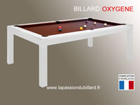 billard de salon et de style: Billard Oxygene chassis en acier laque blanc transformable en table, tapis chocolat