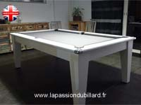 Billard table York blanc design tapis gris.