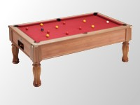 billard de salon: Billard monarch pieds elegance teine noyer clair tapis pool rouge.