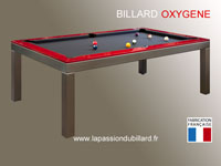 billard de salon: Billard table Oxygene version inox cadre laque rouge tapis gris ardoise Valenciennes