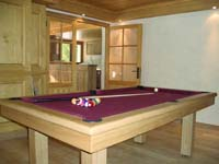 Billard table Loft chene massif naturel tapis bordeau