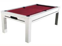 billard transformable en table: Billard Manchester blanc tapis bordeau