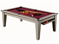 Billard table moderne York chêne grisé tapis bordeau