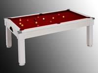 billard transformable en table blanc tapis rouge