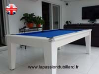 Billard blackball York blanc tapis bleu.