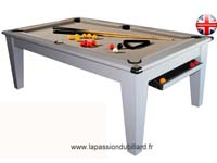 billard transformable en table: Billard York pool Anglais blanc tapis taupe.