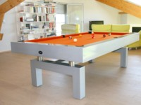 Billard Arcade gris metalise pieds en arche contemporain tapis orange region de Namur