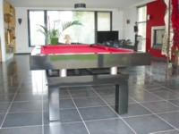 Billard contemporain Arcade laque noir pieds en arche tube inox transformable en table Le Touquet