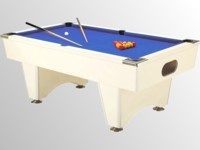 Billard pour café et collectivité: billard domestic pool country sans monnayeur blanc tapis bleu