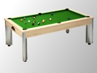 billard transformable en table: billard pool moderne Fusion chêne claire tapis vert
