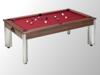 billard table: billard pool moderne Fusion chêne foncé tapis bordeau
