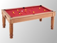 billard transformable en table: Billard pool anglais Majestic chataignier tapis rouge
