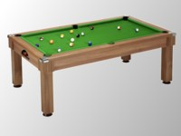 billard transformable en table: billard pool pieds carrés Windsor chataignier tapis vert