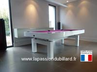 Table de billard contemporain Arcade 2m30 laque blanc region lilloise.