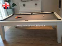 Table de billard contemporaine York blanc tapis gris.
