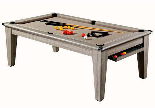 Photo et descriptif: Billard york 7 ft bois flotté tapis couleur taupe.