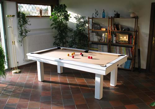 Billard table billard moderne loft blanc 2m30 tapis camel - Billard moderne ...