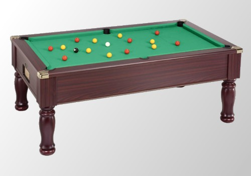 Photo et descriptif: Billard pool anglais modele monarch teinte acajou tapis vert laine.