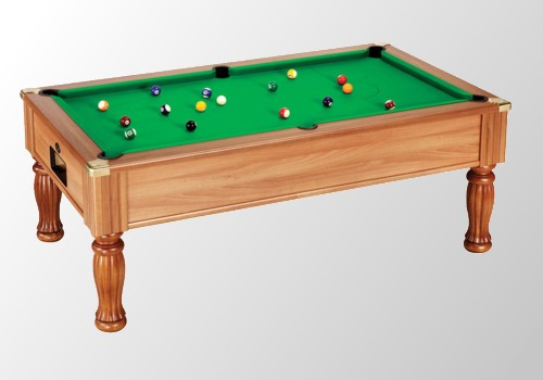 Photo et descriptif: Billard 8 pool elegance monarch 7 pieds tapis vert teinte noyer clair.