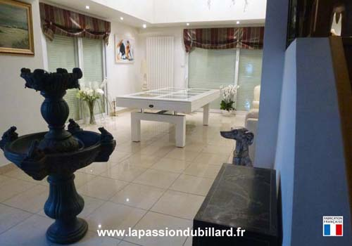 Photo et descriptif: Billard Arcade plateau en verre laque blanc region de Cambrai