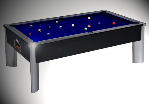 Photo et descriptif: Billard fusion monarch pieds aluminium tapis bleu