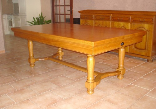Photo et descriptif: billard lafuge castel 2m10 en chene dore avec plateau table transformable