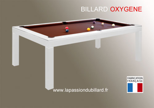 Photo et descriptif: Billard Oxygene chassis en acier laque blanc transformable en table, tapis chocolat