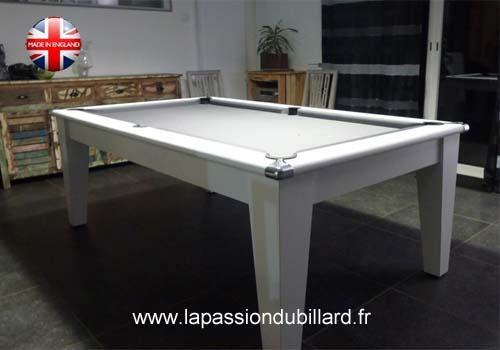 Billard table billard table york blanc design tapis gris - Billard moderne ...