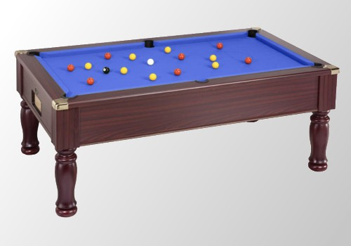 Photo et descriptif: billard anglais monarch tapis bleu teinte acajou