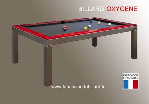 Photo et descriptif: Billard table Oxygene version inox cadre laque rouge tapis gris ardoise Valenciennes