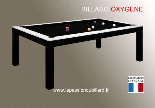 Photo et descriptif: Billard contemporain table bi-ton Oxygene noir et blanc