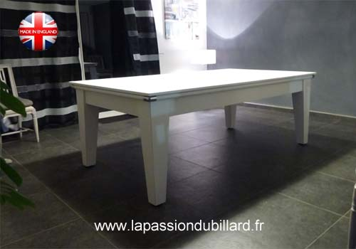 Photo et descriptif: Billard york blanc plateau table 2 parties.