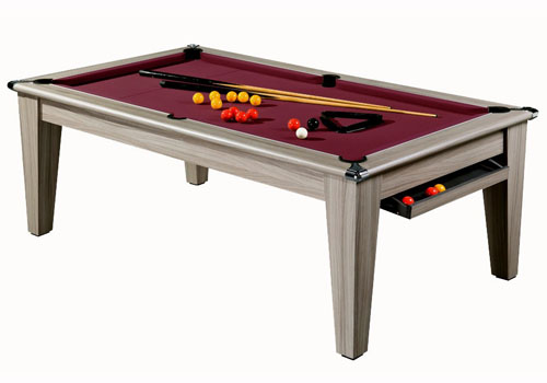 Photo et descriptif: Billard table moderne York chêne grisé tapis bordeau