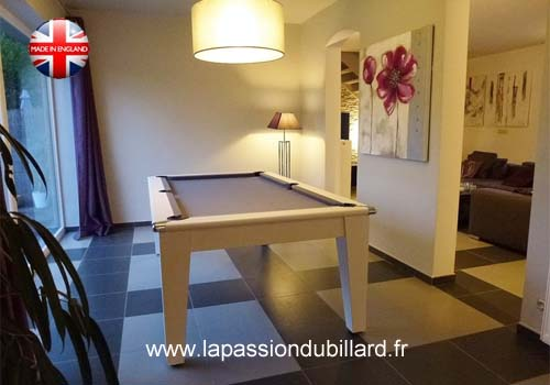 Photo et descriptif: Billard transformable York pool Anglais blanc tapis gris