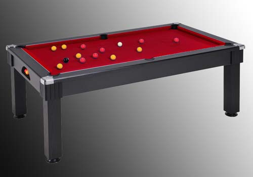 Photo et descriptif: table de billard windsor noir tapis bordeau