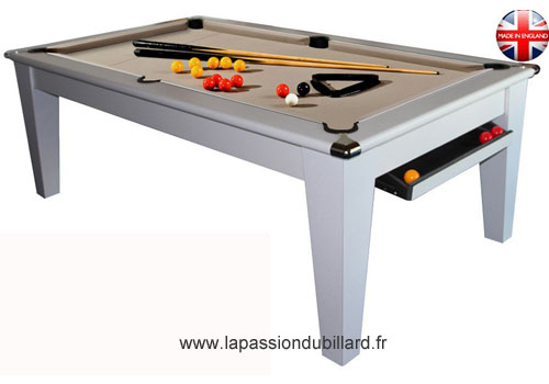 Photo et descriptif: Billard York pool Anglais blanc tapis taupe.