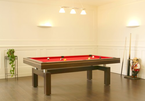 Photo et descriptif: Billard Arcade contemporain pieds en arche version americaine chene teinte wenge
