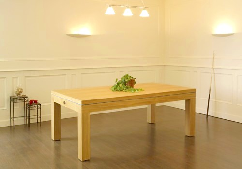 Photo et descriptif: Billard table contemporain Eos pieds carres chene naturel avec plateau table.