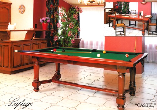Photo et descriptif: billard americain transformable francais table Castel merisier pieds tournes traverse