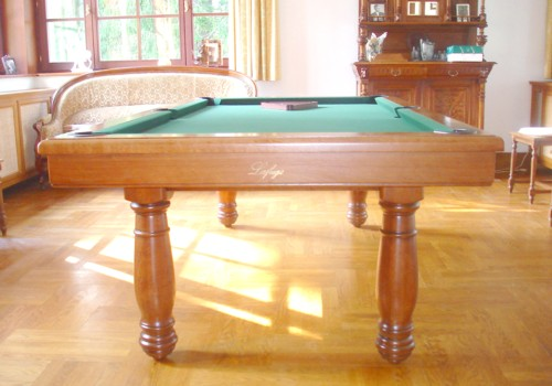 Photo et descriptif: Billard Manoir chene massif fonce americain transformable carambole