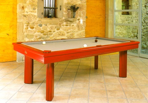 Photo et descriptif: Billard  Elegance transformable en billard francais ligne moderne kotibe massif rouge