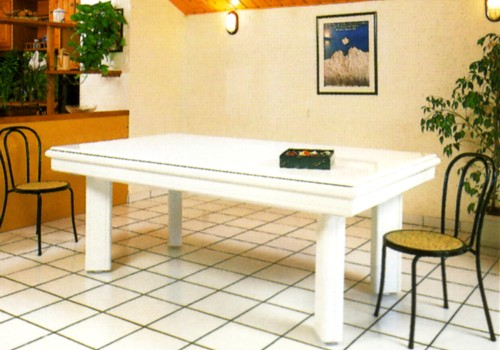 Photo et descriptif: Billard laque blanc Elegance contemporain avec plateau table