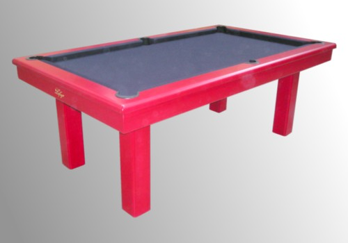 Photo et descriptif: Billard Loft transformable kotibe massif teinte rouge tapis simonis noir